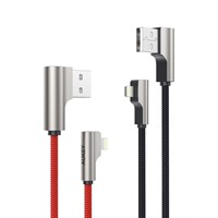 3.3ft 2 Pack Aukey Right Angle Lightning Cable Nylon Braided (Apple MFi Certified)